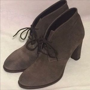 NEW MINELLI 9 9.5 Gray Suede Granny Booties
